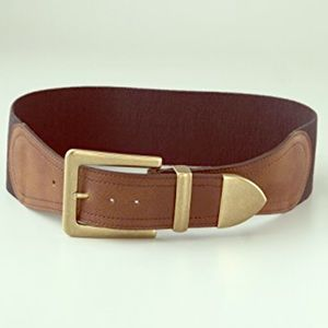 Madewell | 1937 brown leather wide elastic belt.